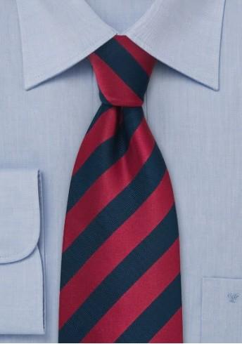 XXL-Krawatte gestreift rot navyblau