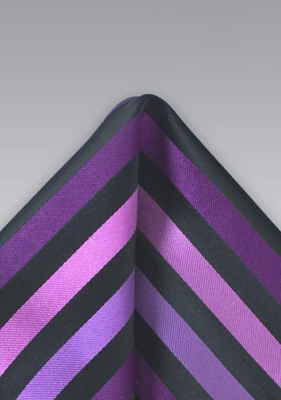 Einstecktuch Streifen Purpur Schwarz