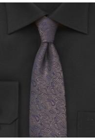 Krawatte schmal Paisleys nussbraun