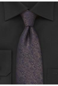 Krawatte XXL Paisleys nussbraun