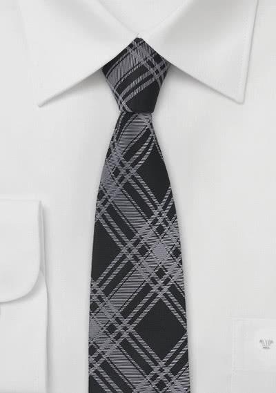 Schmale Krawatte Glencheck schwarz grau