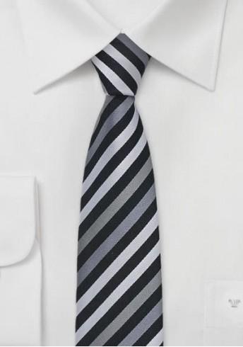 Schmale Krawatte gestreift schwarz grau