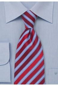 Businesskrawatte Streifen rot taubenblau