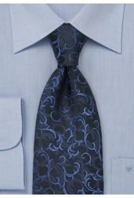 Businesskrawatte Ranken-Muster Schwarz Blau