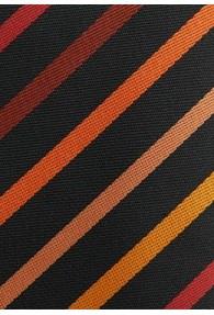 Businesskrawatte Streifenstruktur asphaltschwarz orange