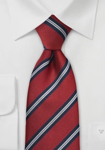 Klassische Regiments-Krawatte XXL in Mittelrot