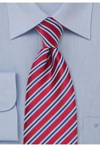 Krawatte XXL Streifen rubinrot