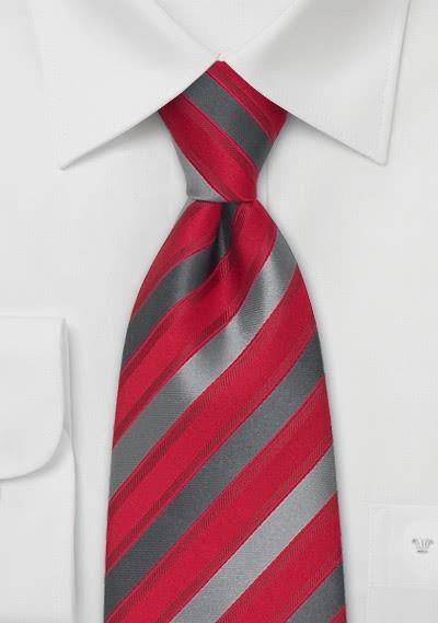 Herren Clip-Krawatte rot grau
