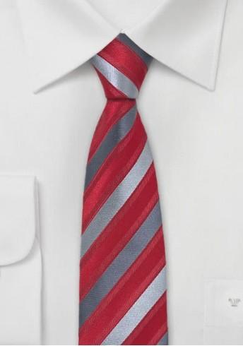 Schmale Herren-Krawatte rot grau