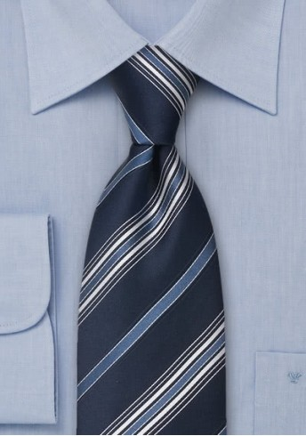XXL-Krawatte Linien blau weiß