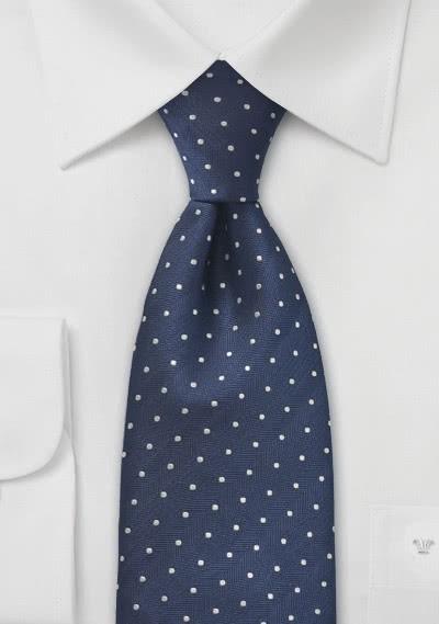 XXL-Krawatte Punkte navyblau silber