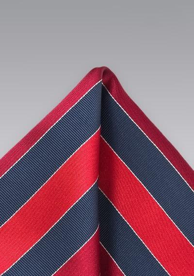 Einstecktuch Streifendekor rot navy