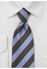 Krawatte Streifen mittelbraun himmelblau