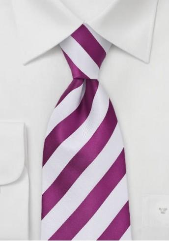 Herrenkrawatte Streifendesign magenta weiß