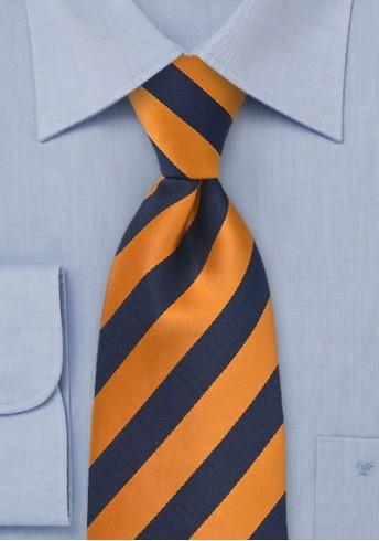 Krawatte Streifendesign orange navyblau