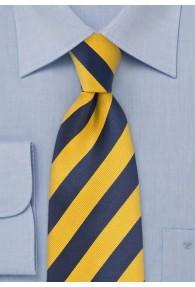 Krawatte Streifen gelb dunkelblau
