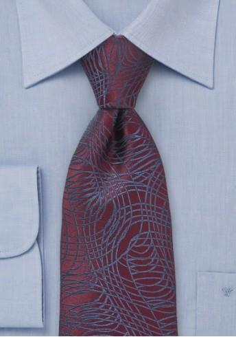 Ausgefallene Krawatte bordeaux Linienmuster