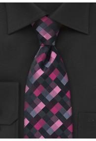 Krawatte Schachbrett-Dekor pink