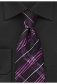 Krawatte Karo-Muster brombeer