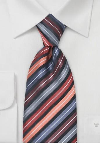 Gestreifte Krawatte apricot grau