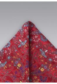 Einstecktuch Blumendekor rot