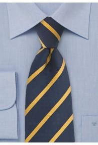 Krawatte Streifenstruktur filigran dunkelblau gelb