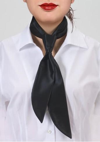 Krawatte für Damen schwarz einfarbig