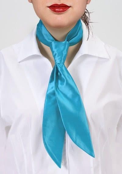 Krawatte für Damen türkisblau monochrom