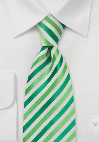 Kinder-Krawatte Mikrofaser Streifen Hellgrün Waldgrün