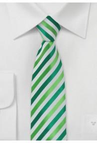 Krawatte schmal Mikrofaser Streifen Hellgrün...