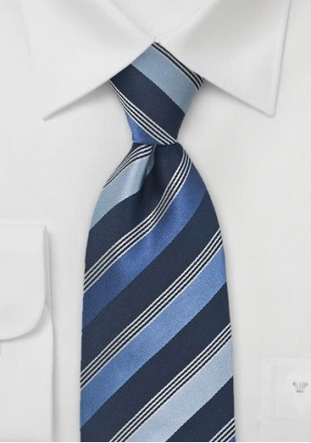 Businesskrawatte Streifen-Muster stahlblau navyblau