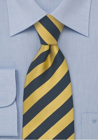 Kinder-Krawatte blau gelb gestreift
