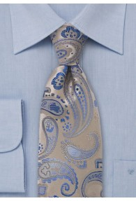 XXL-Krawatte Paisleys beige himmelblau