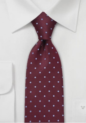 Krawatte XXL Tupfen weinrot hellblau