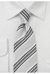 Streifen-Businesskrawatte silber weiß