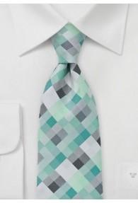 Krawatte Viereck-Dessin blaugrün