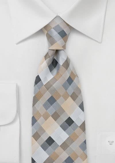 Krawatte Viereck-Dekor hellbraun
