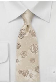 Businesskrawatte Rosen-Pattern beige
