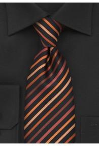 Businesskrawatte XXL Streifenstruktur asphaltschwarz orange