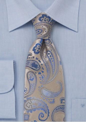 Clip-Krawatte Paisleys beige himmelblau