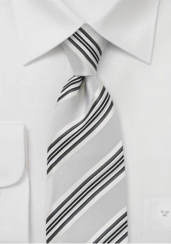 Streifen-Businesskrawatte Clip silber weiß