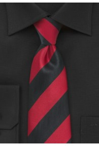 Herrenkrawatte Streifen breit rot schwarz