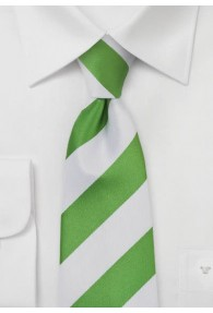Businesskrawatte Streifenmuster breit weiß grasgrün