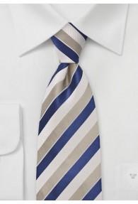 Streifen-Krawatte strukturiert weiß sandfarben