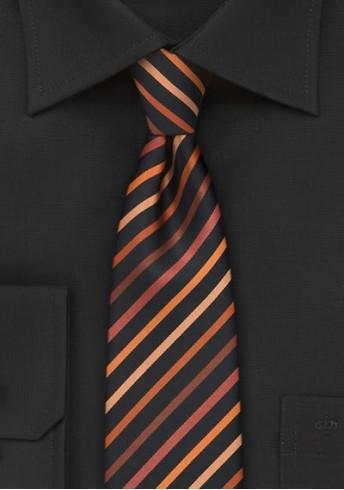 Businesskrawatte schmal Streifenstruktur asphaltschwarz orange