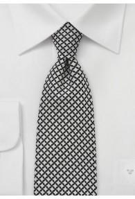 Krawatte Rauten-Pattern schwarz weiß