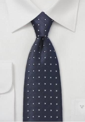 Krawatte Viereck-Punkte dunkelblau