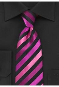 Krawatte stylisches Streifenmuster magenta