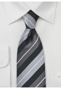 Krawatte Streifendessin silber schwarz