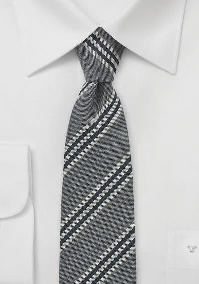 Krawatte Woll-Struktur grau Streifen